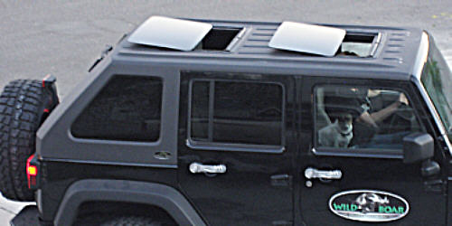 Dual Spoilers in a Jeep Top